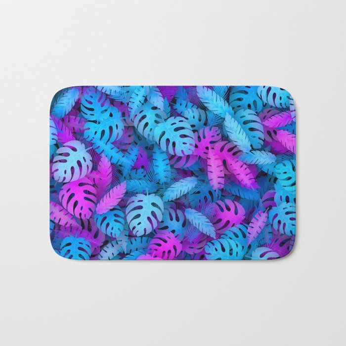 Blue pink tropical leaves Bath Mat