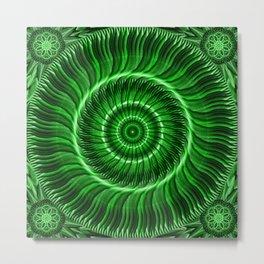 Watcher the Green Mandala Metal Print