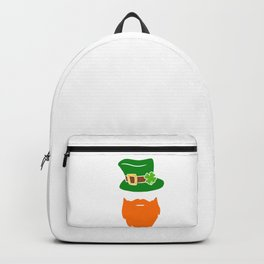 Leprechaun Beard Green Top Hat Shamrock St Patricks Backpack