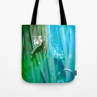 psychadelic Tote Bags featuring Psychadelic Seahorse by Heidi Fairwood