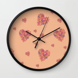 Hearts bloomimg on Peach Wall Clock