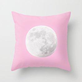 WHITE MOON + PINK SKY Throw Pillow