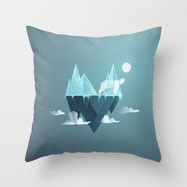 Low Poly Polar Bear Throw Pillow