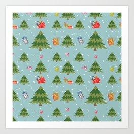 Christmas Elements Christmas Trees Design Art Print