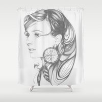 dreamcatcher Shower Curtains featuring Dreamcatcher by Sally Florisson
