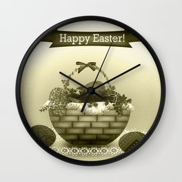 Basket with Easter eggs . Retro . Vintage . Wall Clock