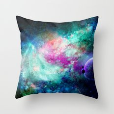 Teal Galaxy Throw Pillow