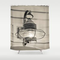 lantern Shower Curtains featuring Vintage Lantern by Redhedge Photos