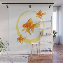 3 GOLDFISH SWIMMING PATTERN MODERN ART Wall Mural