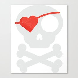 Skull Heart Valentines Day Pirate Flag Canvas Print