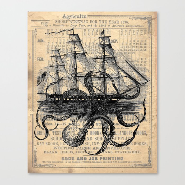 Octopus Kraken attacking Ship Antique Almanac Paper Canvas Print