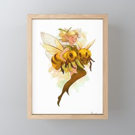 Fairy with two bees Framed Mini Art Print