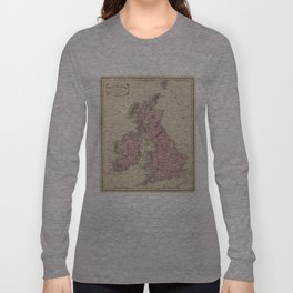 Vintage Map of The British Isles (1864) Long Sleeve T-shirt