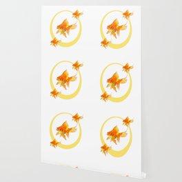 3 GOLDFISH SWIMMING PATTERN MODERN ART Wallpaper