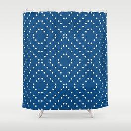Geometric dots on classic blue Shower Curtain