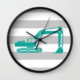 Aqua Excavator Wall Clock