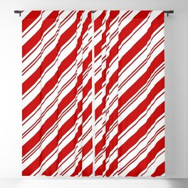 winter holiday xmas red white striped peppermint candy cane Blackout Curtain