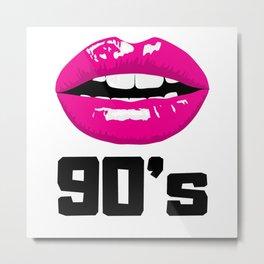 Pink Kissable Mouth 90s Metal Print