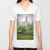 central park V-neck T-shirts featuring Central Park Dreams by MikeMartelli