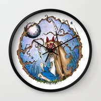 princess mononoke Wall Clocks featuring Princess Mononoke by Jena Sinclair