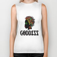 goddess Biker Tanks featuring Goddess by RespecttheQueenDecor