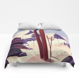 Grand Targhee, Alta, Wyoming ski poster Comforters
