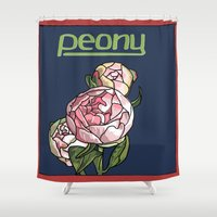peony Shower Curtains featuring Peony by Ken Coleman