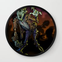 zombie Wall Clocks featuring ZOMBIE! by Billy Allison