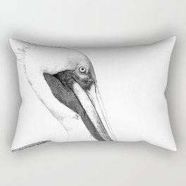 Black and White Pelican Rectangular Pillow