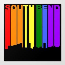 South Bend Indiana Gay Pride Rainbow Skyline Canvas Print