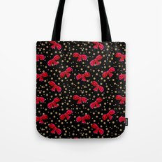 Red bow and glitter golden polka dots seamless pattern Tote Bag