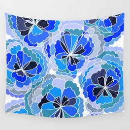 Floral Blue Wall Tapestry