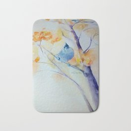 Nuthatch Aspen Morning Looking Up watercolour by CheyAnne Sexton Bath Mat