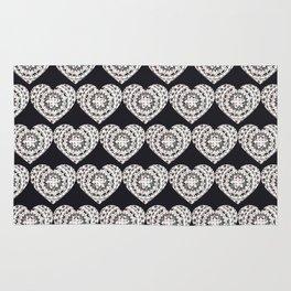 Black and Silver Mandala Hearts Textile Rug
