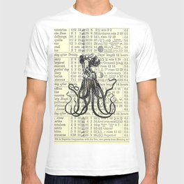 OctoDiver vintage 1895 collage on antique almanac background T-shirt