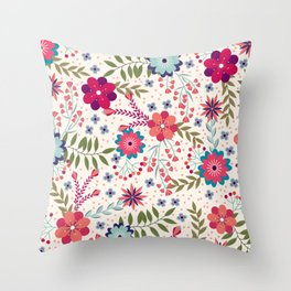 Colorful Floral Spring Pattern Throw Pillow
