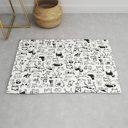 Black and White Dog Drawings | Cute Canines Pattern Rug