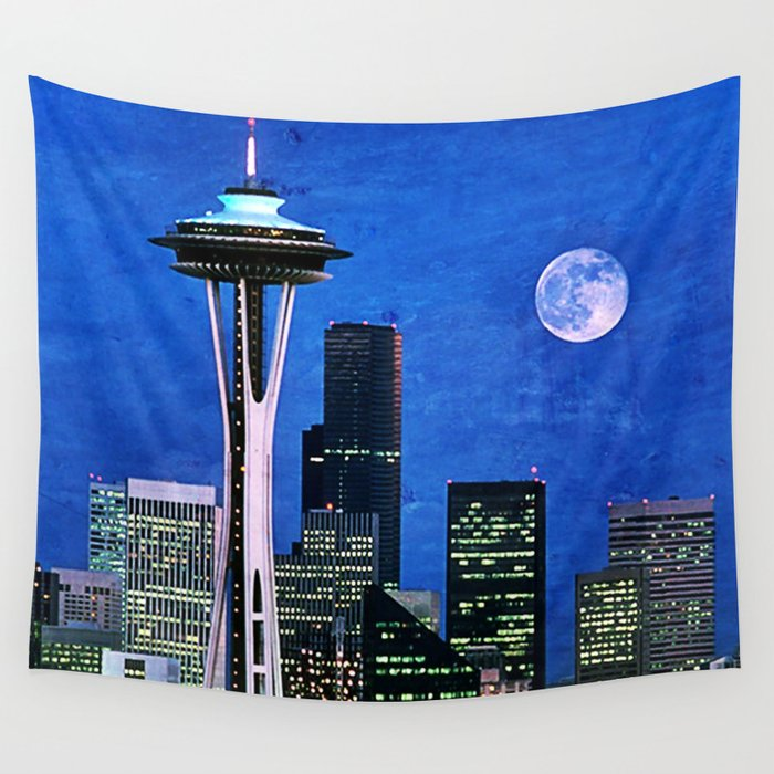 Blue Seattle Space Needle Wall Tapestry