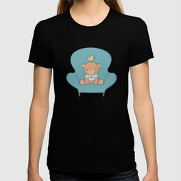 Kawaii Cute Teddy Brown Bear On A Sofa T-shirt