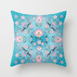 Folk Flowers in Pink and Dusty Blue Throw Pillow