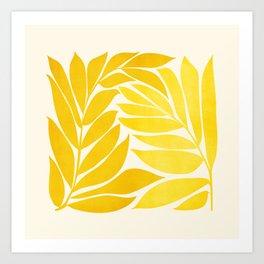 Mid Mod Vines - Yellow Art Print