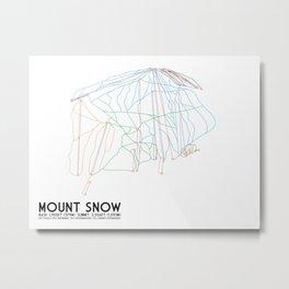 Mount Snow, VT - Minimalist Trail Art Metal Print