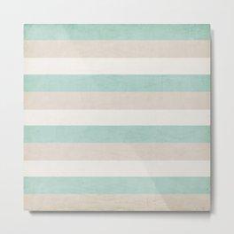 aqua and sand stripes Metal Print
