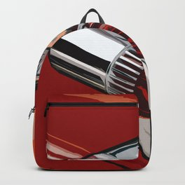 Classic Red Car with Chrome Bullet Lights Backpack