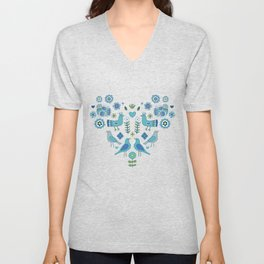 Scandi Folk Birds - blue & white Unisex V-Neck