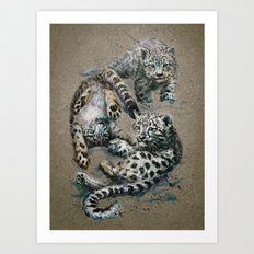 Snow leopard 2 background Art Print