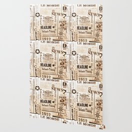 Vintage Newspaper Ads Black and White Typography Wallpaper