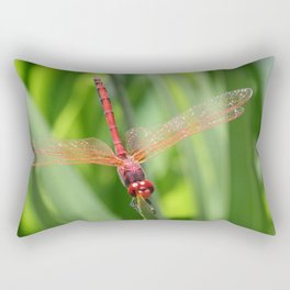 Closeup of Red Skimmer or Firecracker Dragonfly Rectangular Pillow