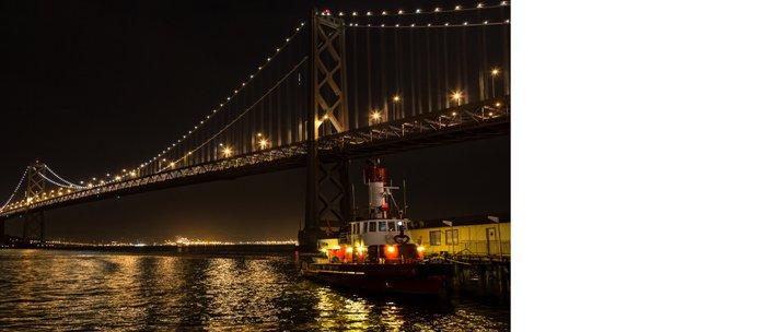 Bay Bridge Fire Boat at Night Coffee Mug