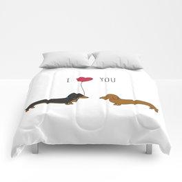 DACHSHUND LOVE Comforters